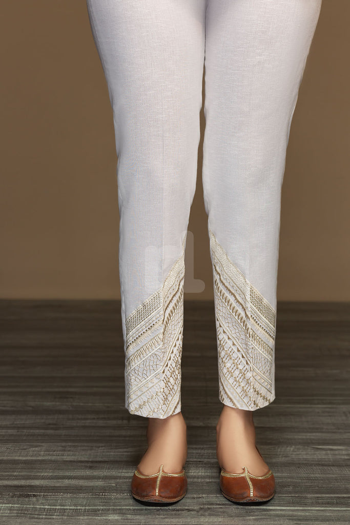 PW19-33 White Dyed Embroidered Stitched Straight Karandi Trouser for Women - Nishat Linen UAE