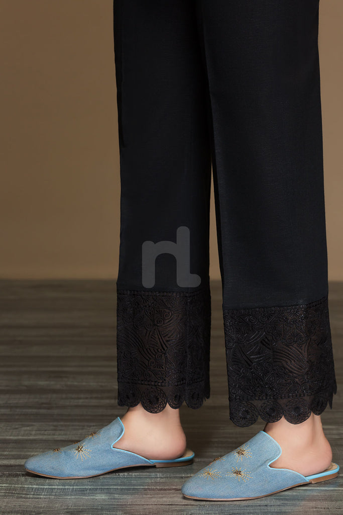 PW19-34 Black Dyed Embroidered Stitched Loose Straight Karandi Trouser For Women - Nishat Linen UAE