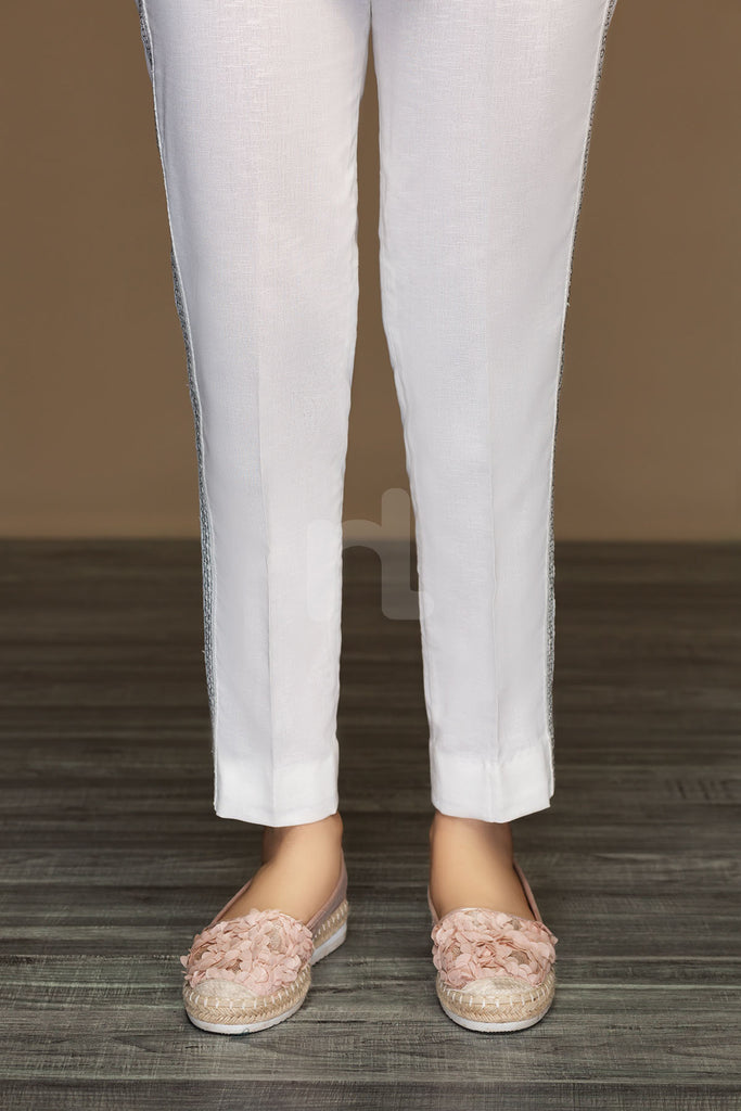 PW19-44 White Dyed Stitched Straight Karandi Trouser For Women - Nishat Linen UAE