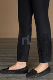 PW19-47 Black Dyed Embroidered Stitched Straight Karandi Trouser For Women - Nishat Linen UAE