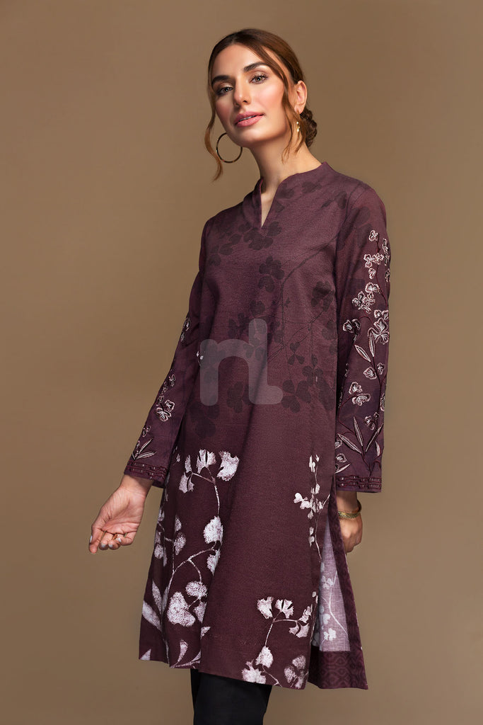 PW19-49 Maroon Digital Printed Embroidered Stitched Cotton Karandi Shirt - 1PC - Nishat Linen UAE