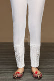 PW19-51 White Dyed Embroidered Stitched Straight Karandi Trouser for Women