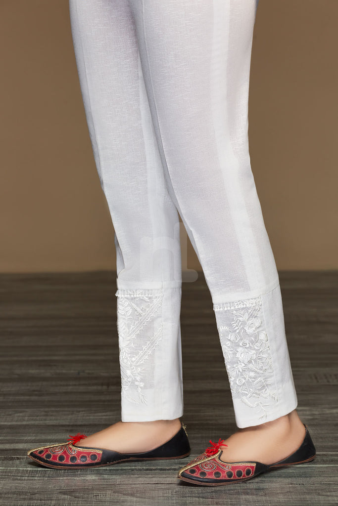 PW19-51 White Dyed Embroidered Stitched Straight Karandi Trouser for Women - Nishat Linen UAE