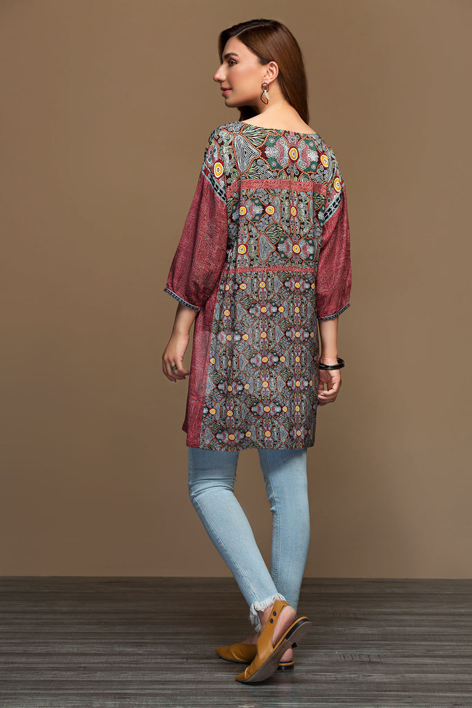 PW19-59 Maroon Digital Printed Stitched Linen Shirt - 1PC - Nishat Linen UAE