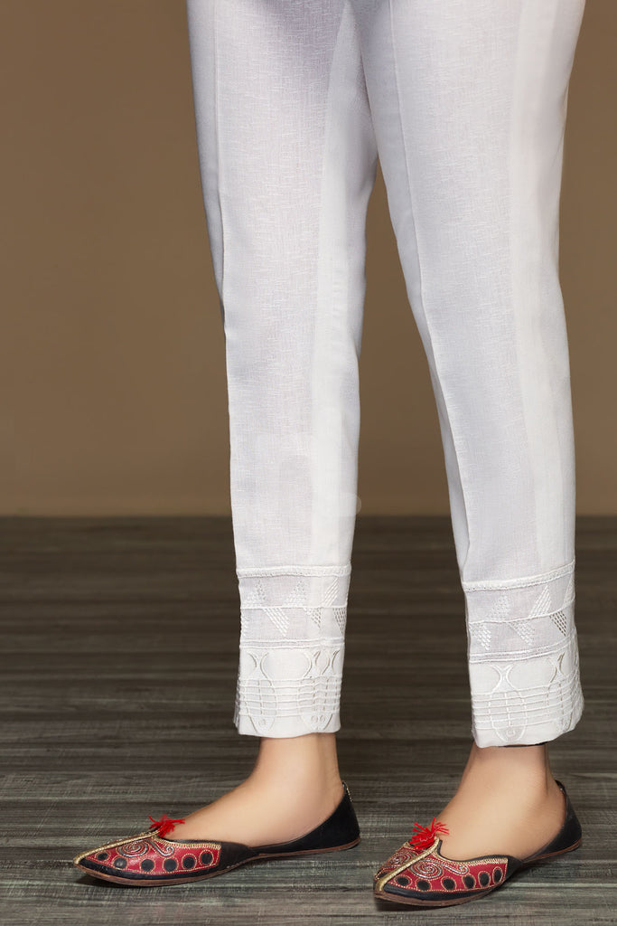 PW19-64 Off White Dyed Embroidered Stitched Straight Karandi Trouser For Women - Nishat Linen UAE