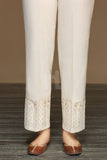 PW19-66 Beige Dyed Embroidered Stitched Loose Straight Karandi Trouser For Women - Nishat Linen UAE