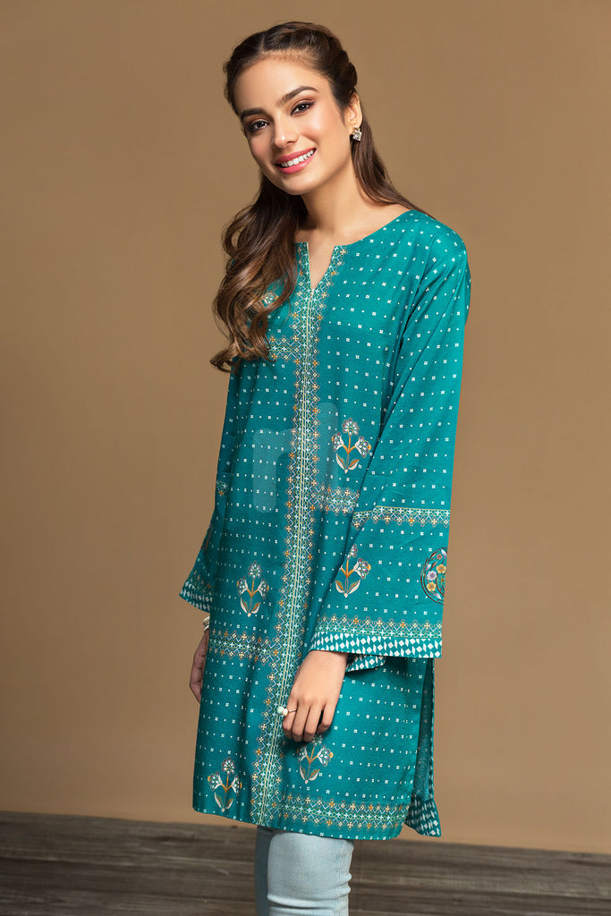PW19-69 Green Digital Printed Stitched Cotton Karandi Shirt - 1PC - Nishat Linen UAE