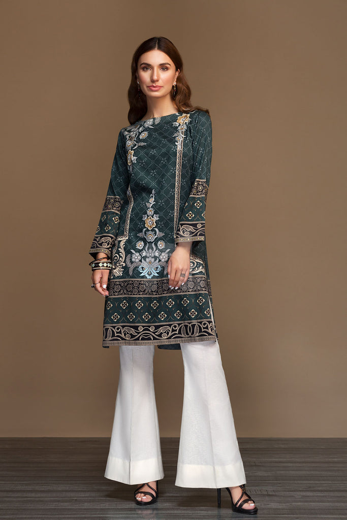 PW19-74 Grey Digital Printed Stitched Sateen Shirt - 1PC - Nishat Linen UAE