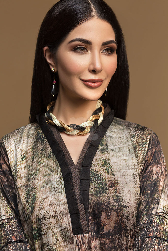 PW19-80 Brown Digital Printed Stitched Sateen Shirt - 1PC - Nishat Linen UAE