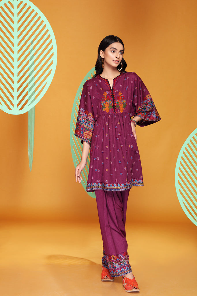 PW20-117 Embroidered Printed Stitched Karandi Frock & Shalwar with Mask - 2PC