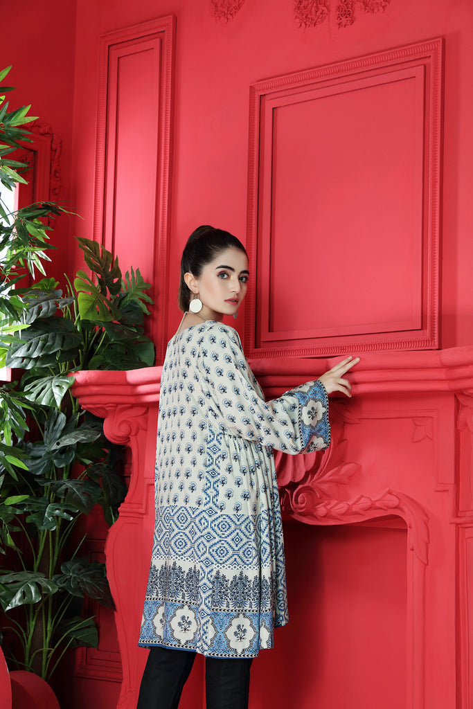 PW20-124 Digital Printed Stitched Linen Shirt-1PC