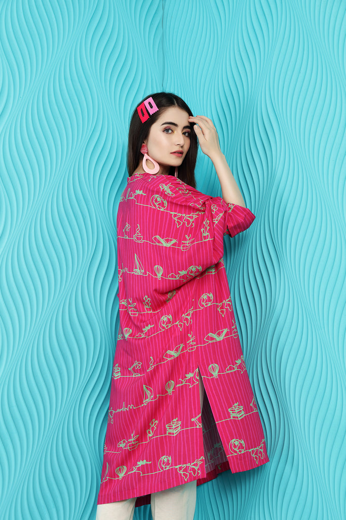 PW20-144 Printed Stitched Linen Shirt With Mask-1PC