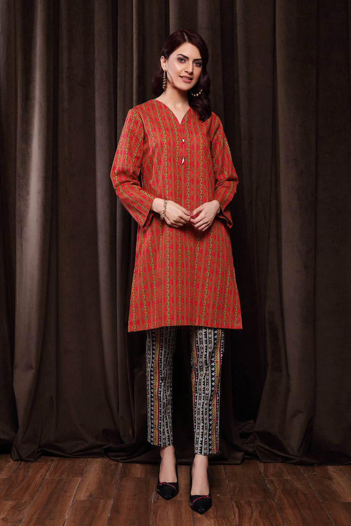 PW20-151 Printed Stitched Khaddar Shirt & Trouser - 2PC