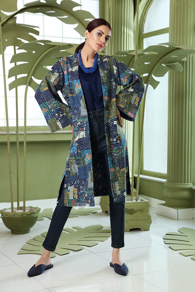 PW20-156 Printed Stitched Karandi Jacket with Mask-1PC
