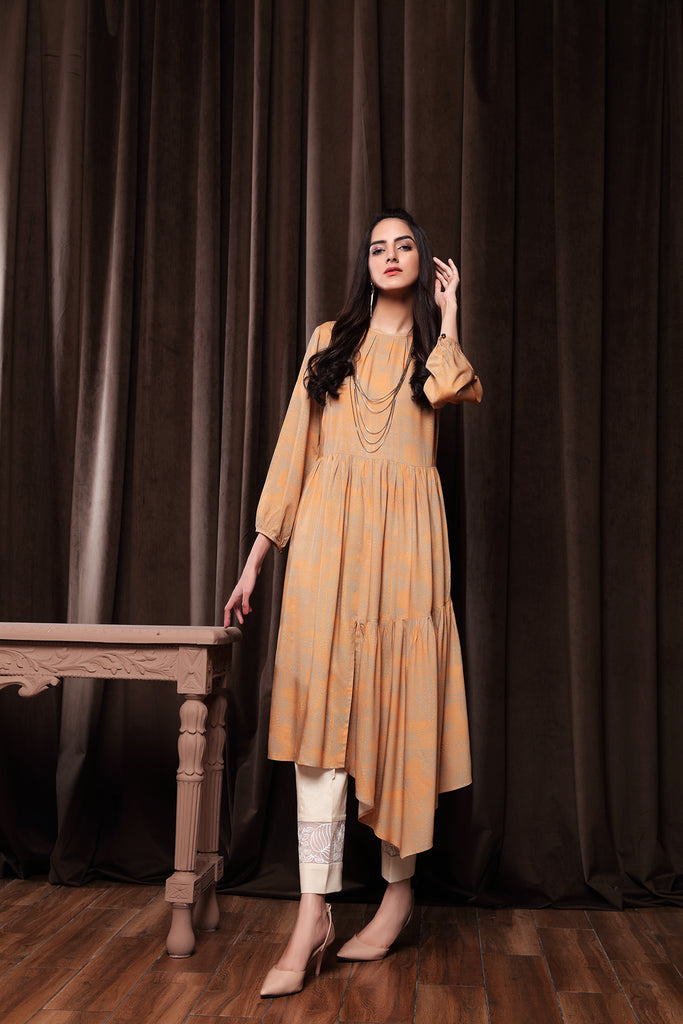 PW20-165 Printed Stitched Linen Frock-1PC