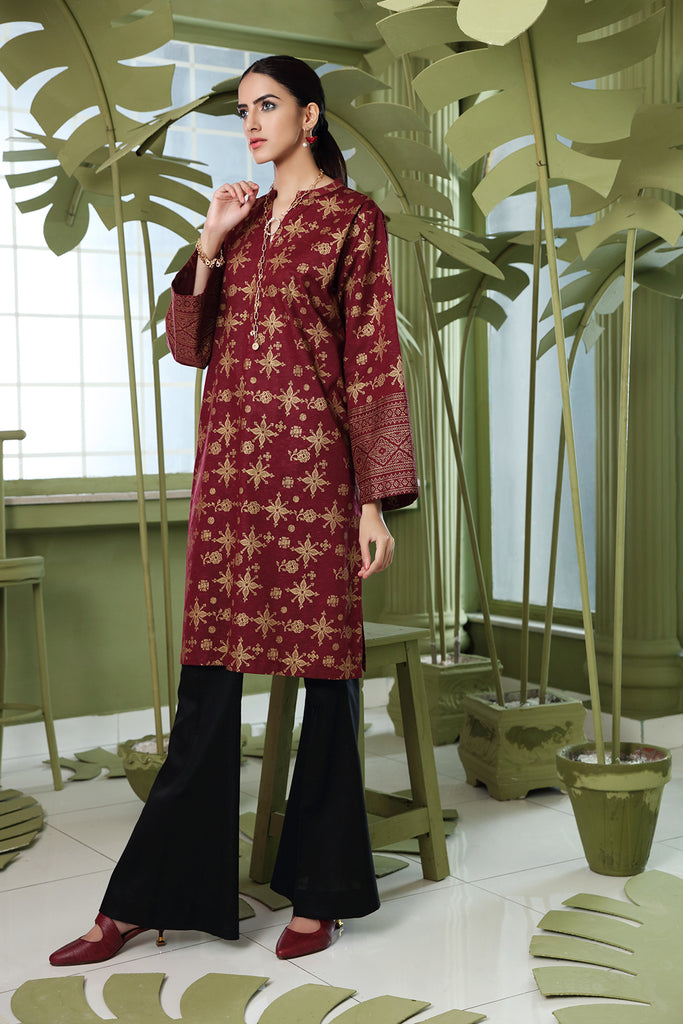 PW20-170 Printed Stitched Karandi Shirt With Mask-1PC