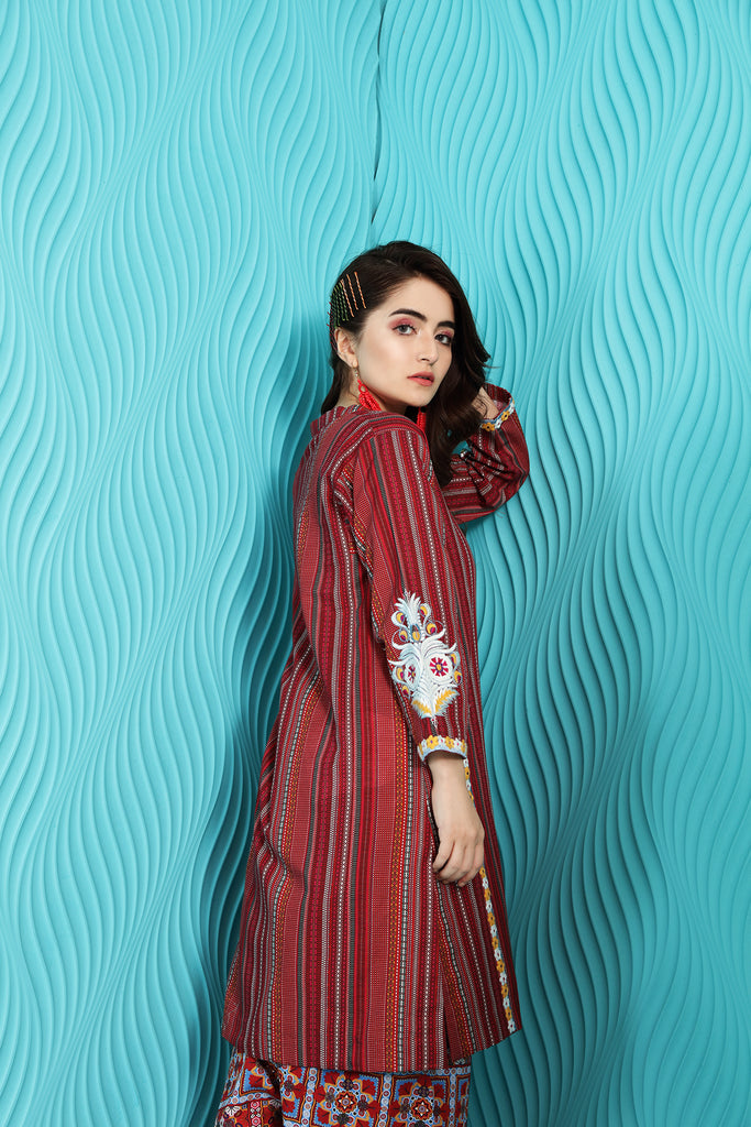 PW20-21 Printed Embroidered Stitched Khaddar Shirt & Shalwar with Mask-2PC