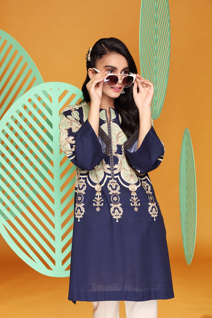 PW20-38 Digital Printed Stitched Khaddar Shirt with Mask- 1PC