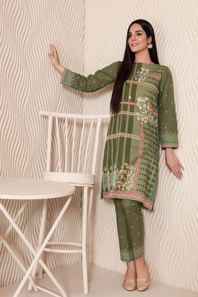 PW20-58 Printed Stitched Khaddar Shirt & Trouser with Mask-2PC
