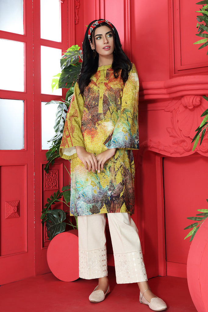 PW20-67 Digital Printed Embroidered Stitched Cotton Karandi Shirt with Mask - 1PC