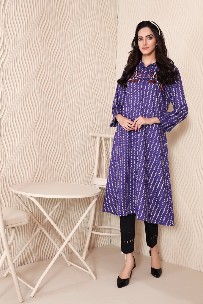 PW20-94 Embroidered Printed Stitched Karandi Shirt-1PC