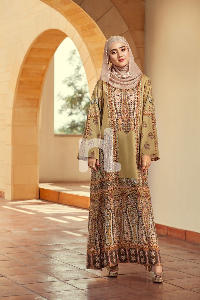 DE19-13 Yellow Digital Printed Stitched Lawn Jalabiya - 1PC - Nishat Linen UAE