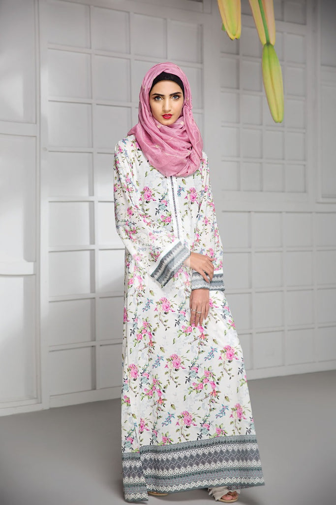 DS19-02 Off White Digital Printed Stitched Cambric Jalabiya - 1PC - Nishat Linen UAE