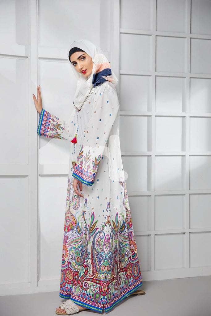 DS19-03 White Digital Printed Stitched Cambric Jalabiya - 1PC - Nishat Linen UAE