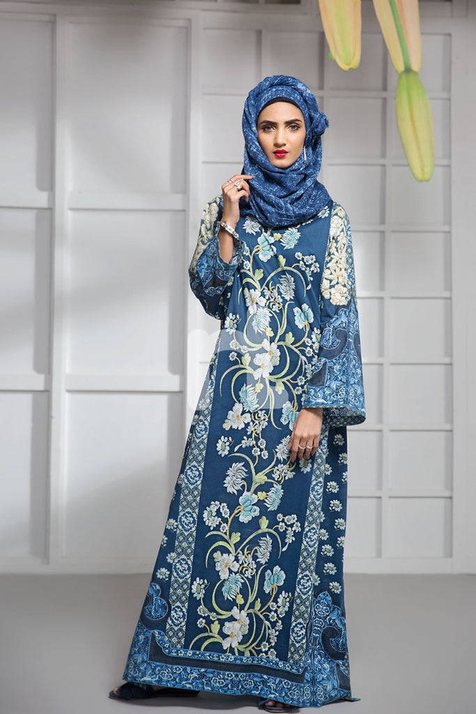 DS19-04 Blue Digital Printed Stitched Lawn Jalabiya - 1PC - Nishat Linen UAE