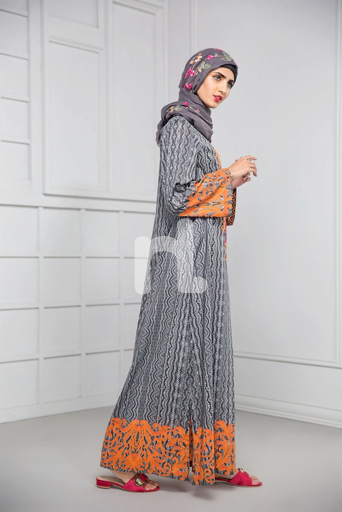 DS19-06 Grey Digital Printed Stitched Cambric Jalabiya - 1PC - Nishat Linen UAE