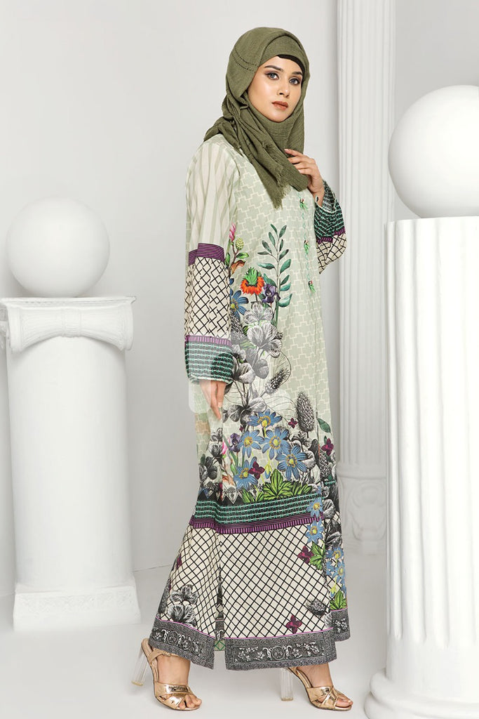 DS19-163 Green Printed Stitched Lawn Jalabiya - 1PC - Nishat Linen UAE
