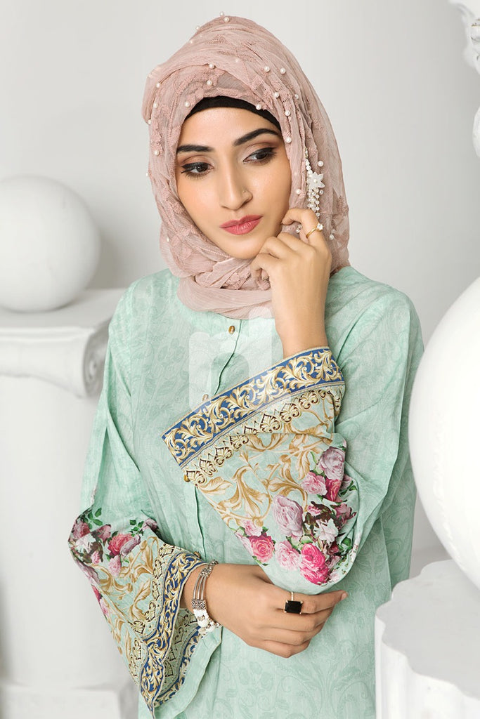 DS19-165 Green Printed Stitched Lawn Jalabiya - 1PC - Nishat Linen UAE