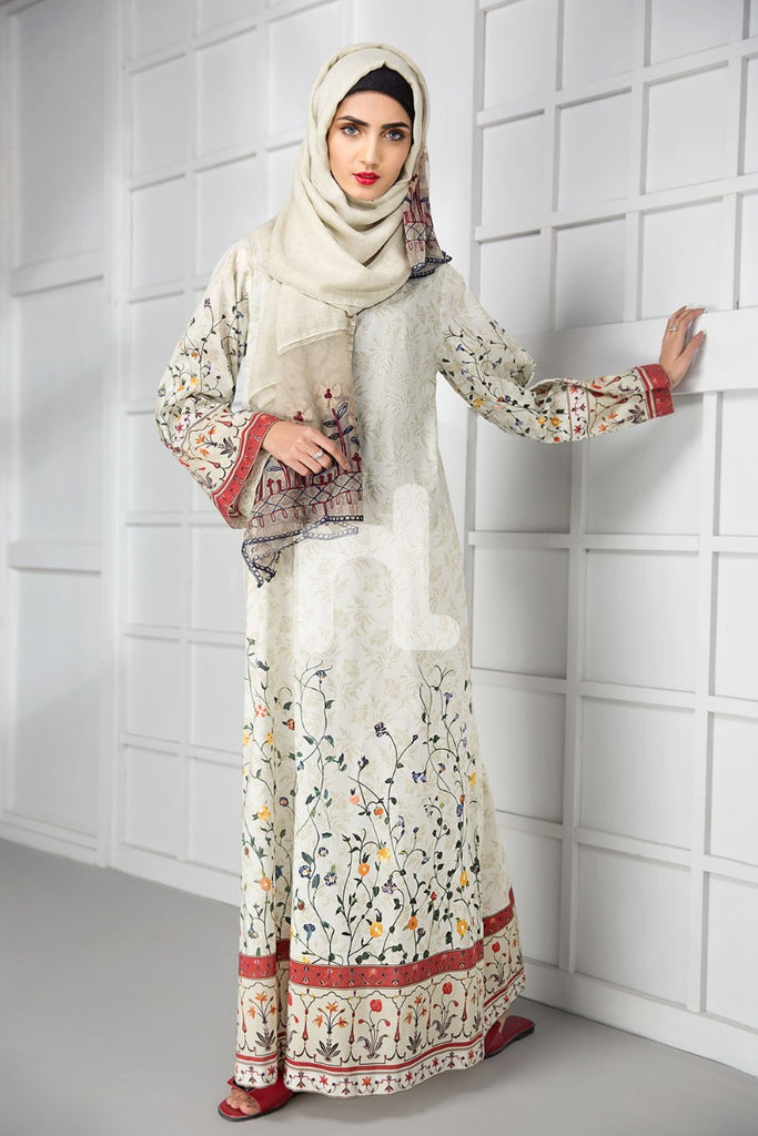 DS19-172 Off White Digital Printed Stitched Lawn Jalabiya - 1PC - Nishat Linen UAE