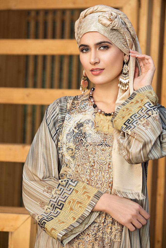 DS19-175 Brown Digital Printed Stitched Lawn Jalabiya - 1PC - Nishat Linen UAE