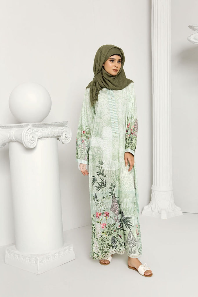 DS19-179 Green Stitched Lawn Jalabiya - 1PC - Nishat Linen UAE