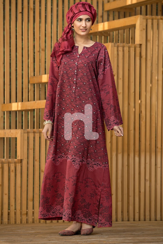DS19-31 Maroon Printed Stitched Lawn Jalabiya - 1PC - Nishat Linen UAE