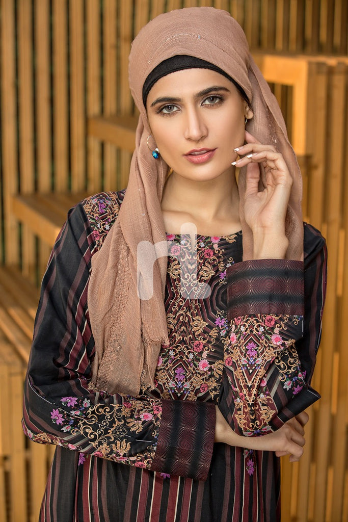 DS19-32 Black Printed Stitched Lawn Jalabiya - 1PC - Nishat Linen UAE
