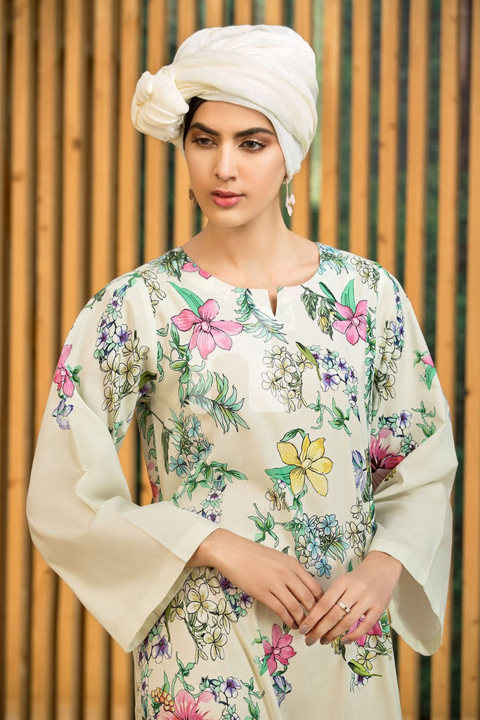 DS19-36 Off White Digital Printed Stitched Lawn Jalabiya - 1PC - Nishat Linen UAE