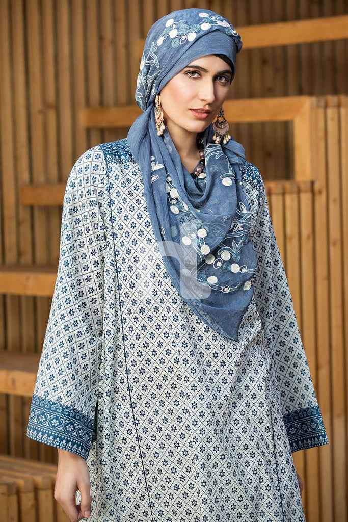 DS19-41 Blue Digital Printed Stitched Lawn Jalabiya - 1PC - Nishat Linen UAE
