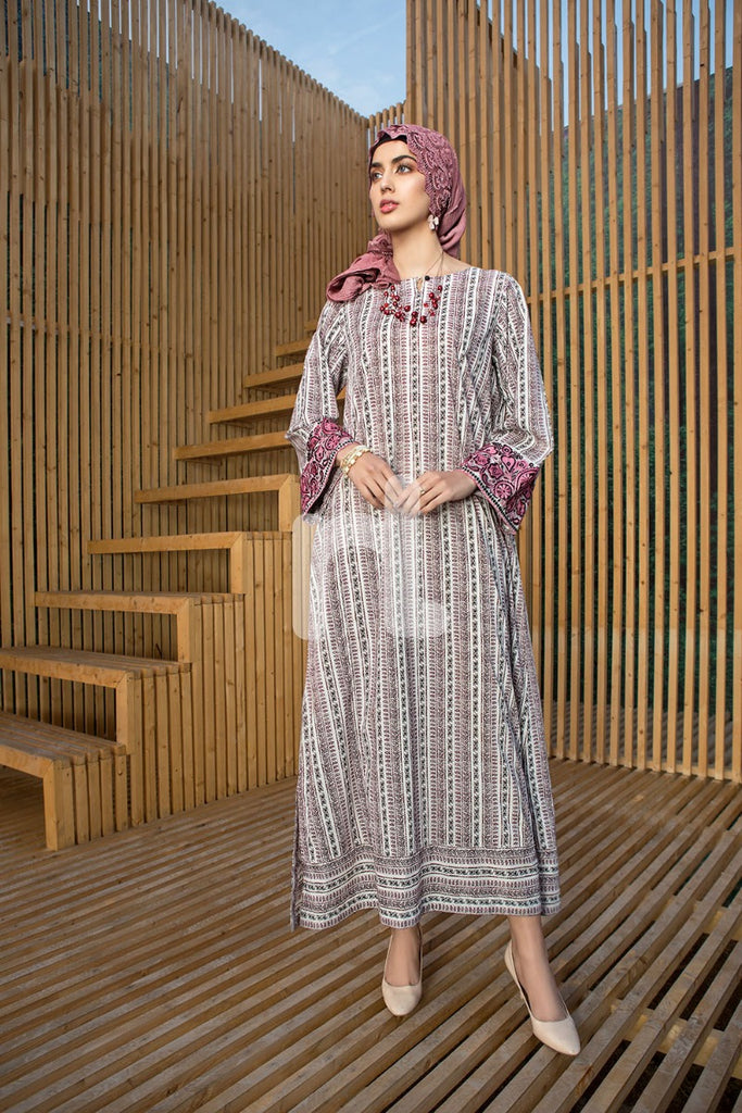 DS19-47 Beige Printed Embroidered Stitched Lawn Jalabiya – 1PC - Nishat Linen UAE