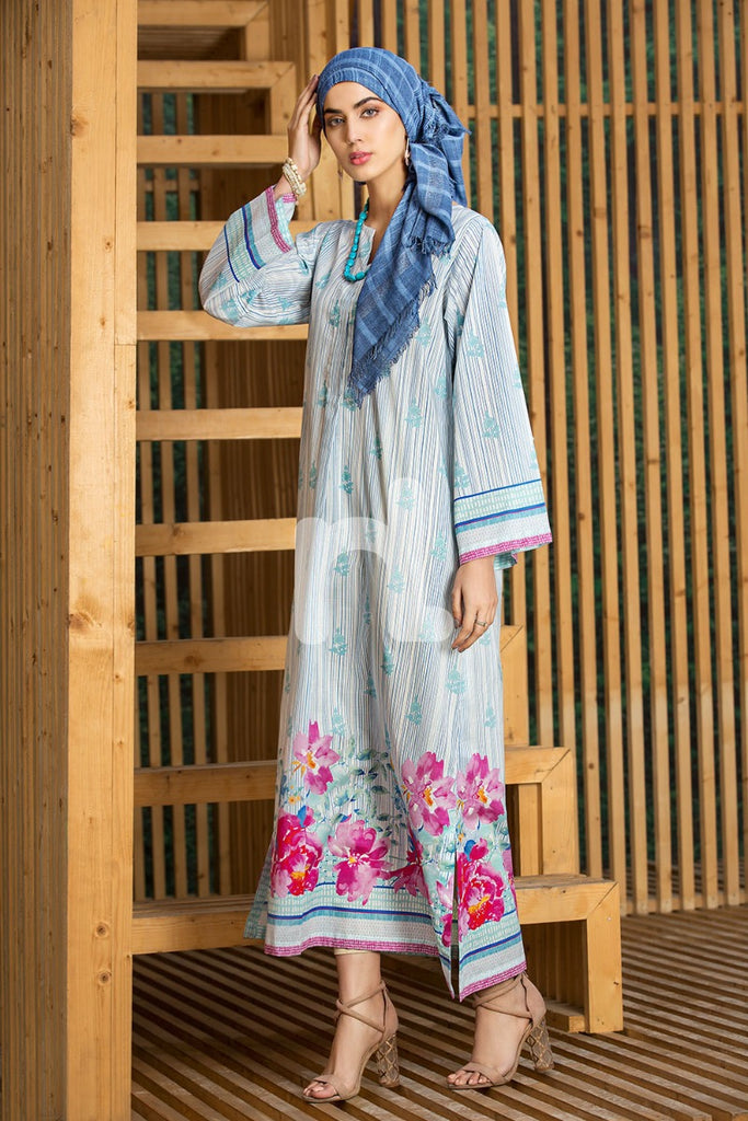 DS19-48 Blue Digital Printed Stitched Lawn Jalabiya - 1PC - Nishat Linen UAE