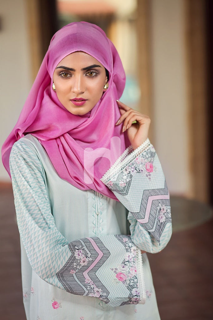 DS19-53 Blue Digital Printed Stitched Jalabiya - 1PC - Nishat Linen UAE