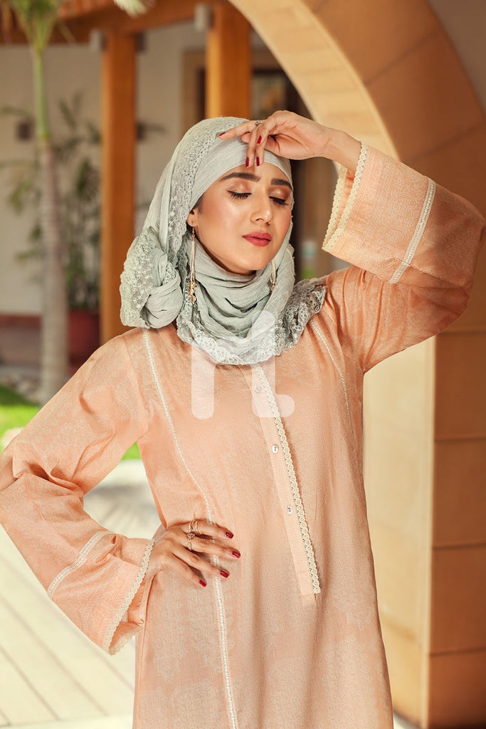 DS19-54 Peach Printed Stitched Jalabiya - 1PC - Nishat Linen UAE