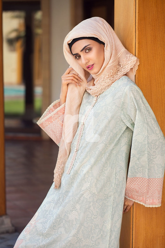 DS19-58 Light Green Digital Printed Stitched Jalabiya - 1PC - Nishat Linen UAE