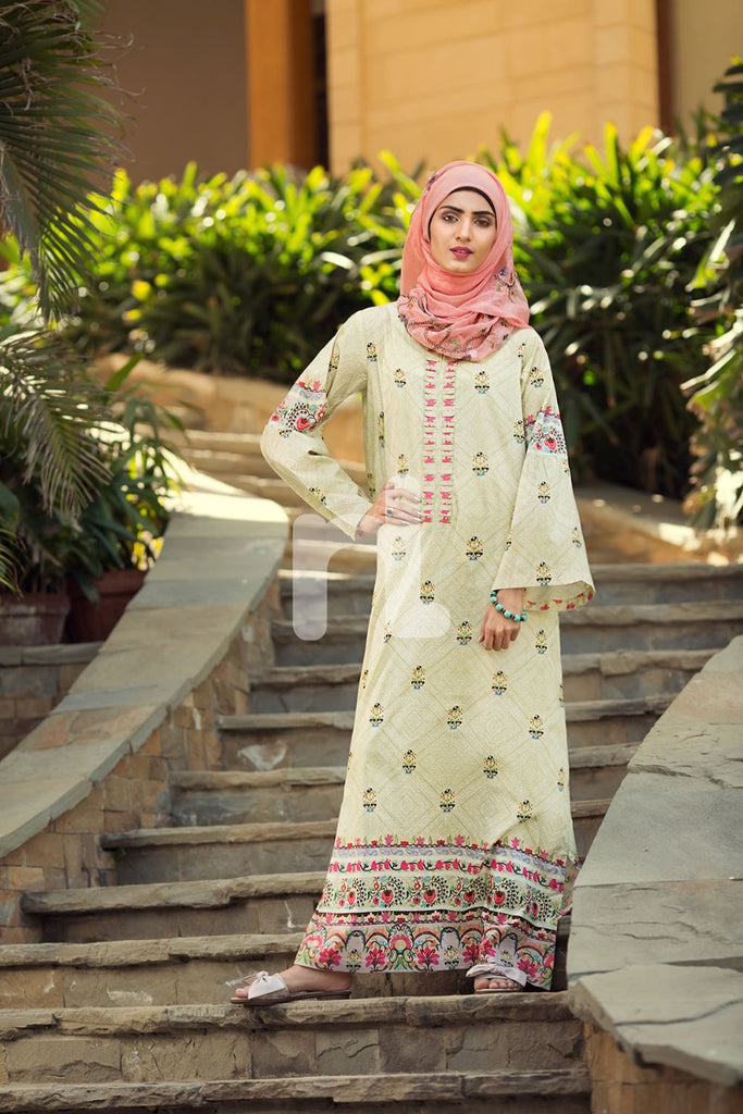 DS19-59 Green Digital Printed Stitched Jalabiya - 1PC - Nishat Linen UAE
