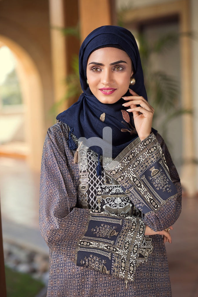 DS19-65 Blue Digital Printed Stitched Jalabiya - 1PC - Nishat Linen UAE