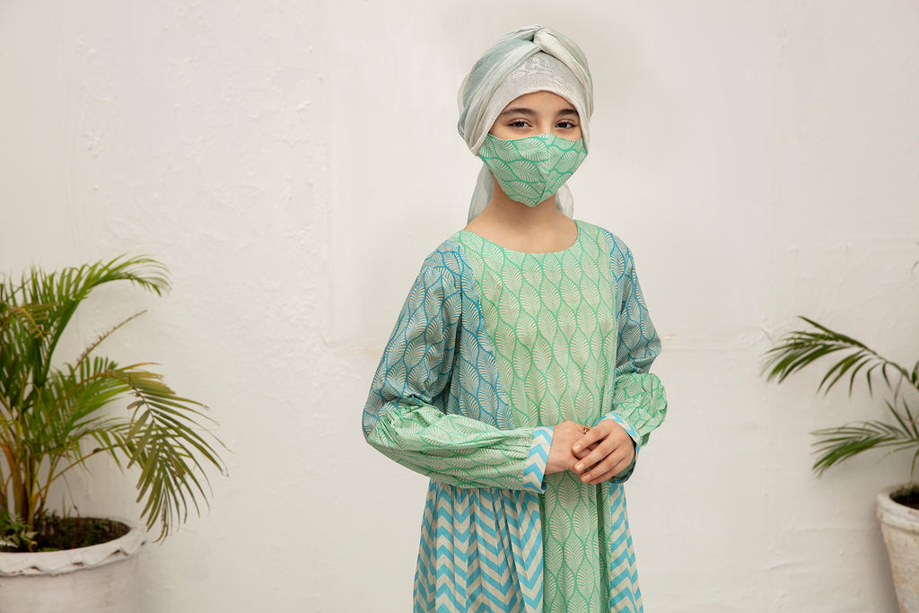 DS20-110 Printed Stitched Jalabiya for Kids - 1PC