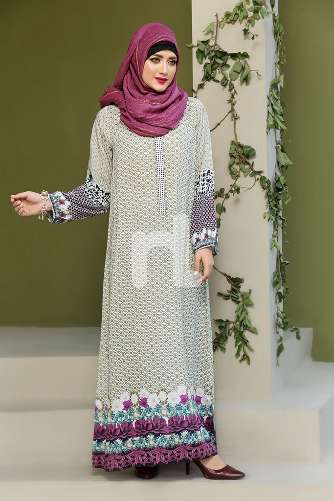 DSW19-100 Light Green Digital Printed Stitched Lawn Jalabiya - 1PC - Nishat Linen UAE