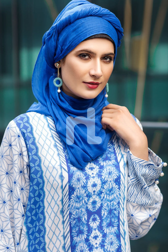 DSW19-28 Off White Digital Printed Stitched Jalabiya – 1PC - Nishat Linen UAE
