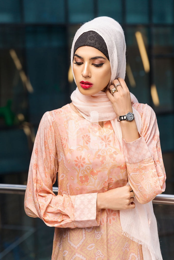 DSW19-70 Peach Digital Printed Stitched Lawn Jalabiya - 1PC - Nishat Linen UAE